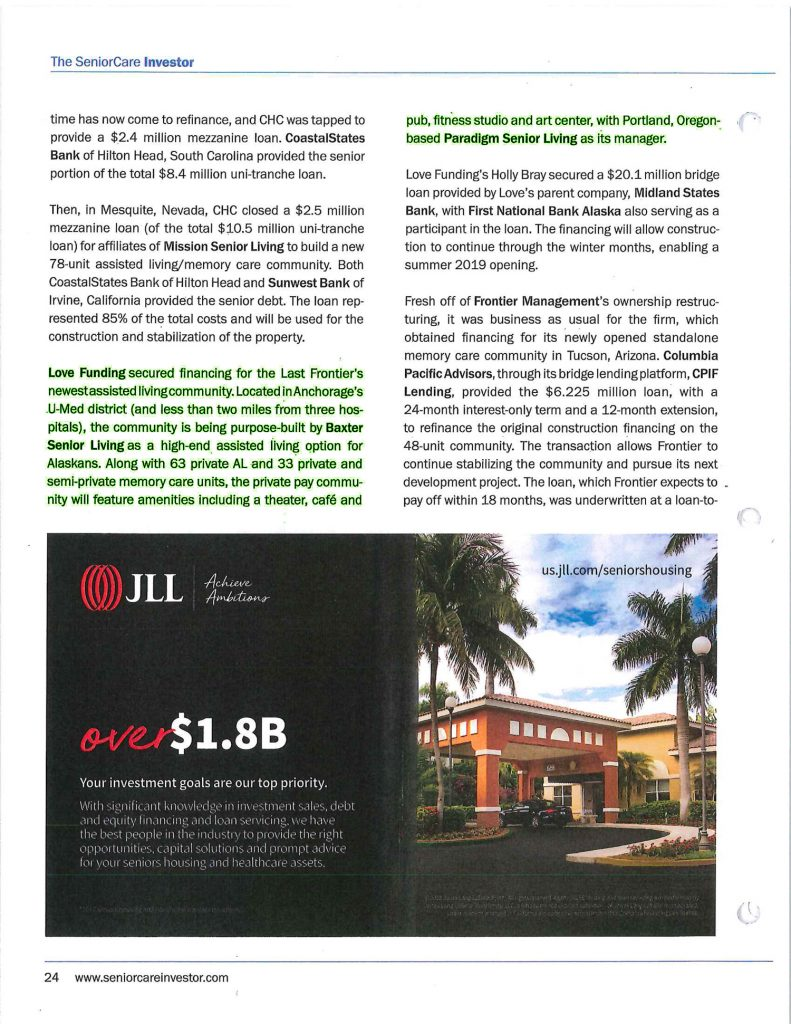 The Senior Care Investor Publication Featuring Baxter Senior Living and Paradigm Senior Living