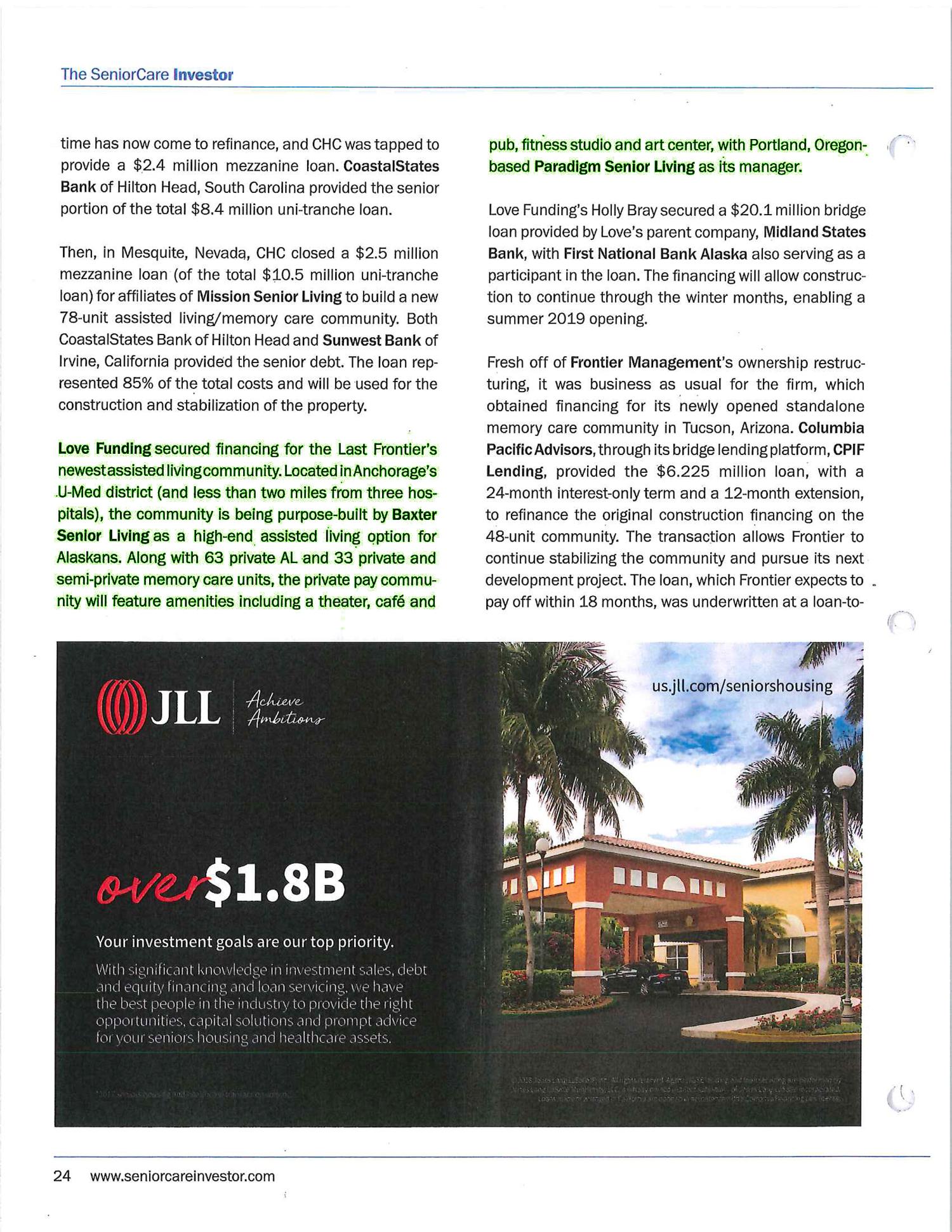 The Senior Care Investor Publication Featuring Baxter Senior Living and Paradigm Senior Living